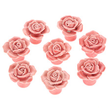 8Pcs Furniture Handles Ceramic Cabinet Knobs and Handles Door Cupboard Drawer Kitchen Pull Handles Furniture Fittings Pink Rose 8pcs furniture handles ceramic cabinet knobs and handles door cupboard drawer kitchen pull handles furniture fittings white rose