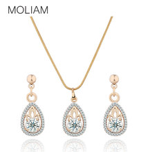 MOLIAM Jewelry Set for Women Gold-Color Pendants Necklace Earrings Crystal Zircon Gift Set Costume Fashion MLT014