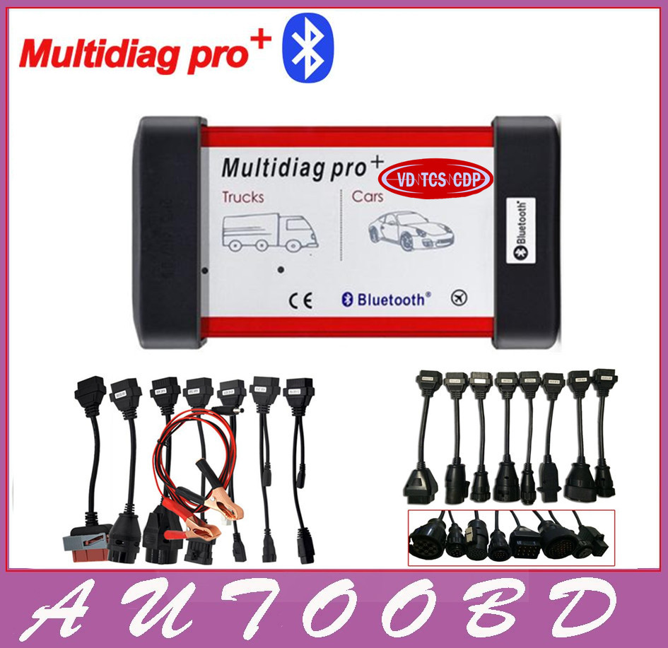 2014 R2/2015.R3 Multidiag Pro VD TCS CDP Bluetooth New VCI Diagnostic Tool+Carton box +8 Car Cables+8Truck Cables DHL free ship single green board multidiag pro 2014 r2 keygen