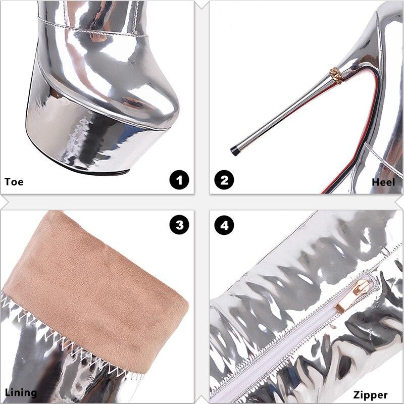 Short D'hiver 2018 Brevet De Dames Fur Thick Épais forme Talons Cuissardes Stiletto silver Plush Mode Chaussures Genou Plate Silver Sur Le Argent Bottes Wetkiss n4BTn