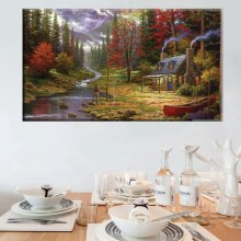 Best Gift Picnic Fishing Vacation Thomas Kinkade Reproduction Pastoral Landscape Painting Prints Canvas Living Room Decoration