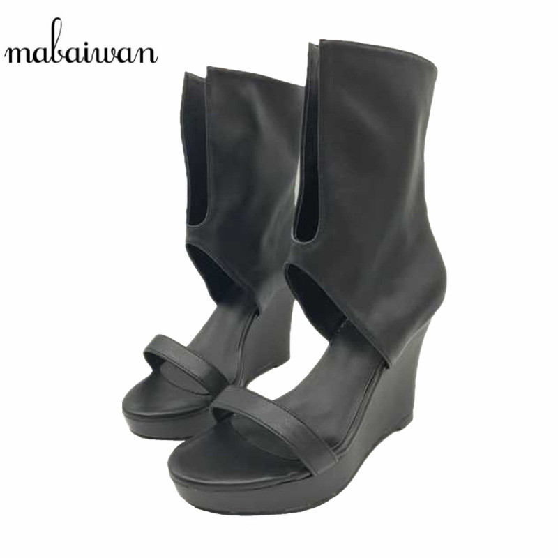 Mabaiwan 2017 Fashion Punk Style Women Gladiator Sandals Black V Front Summer Boots Platform Pumps High Heels Shoes Woman Wedges women sandals 2017 summer style shoes woman wedges height increasing fashion gladiator platform female ladies shoes casual
