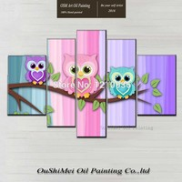 Handmade Three Owls Standing on the Branches Oil Painting on Canvas Modern Funny Animal Cartoon Owl Oil Painting for Baby Room