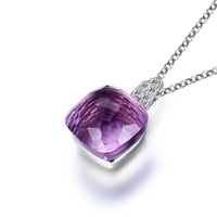 100 Real Pure 925 Sterling Silver Necklace Square Nature Amethyst Necklaces Pendants For Women Wedding Engagement