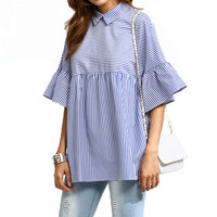 FF Blue Striped Ruffle Sleeve Babydoll Blouse Women 2017 Summer Fashion Half Sleeve Tops Women Casual