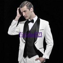 Fashion Style One Button White Groom Tuxedos Groomsmen Men's Wedding Prom Suits Bridegroom (Jacket+Pants+Vest+Tie) K:554
