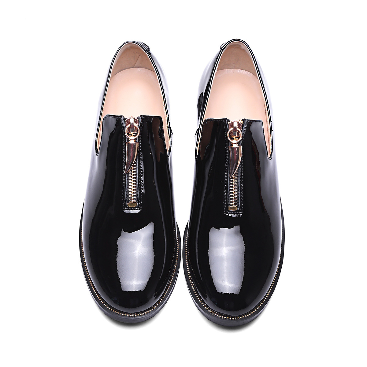 2017 New loafers Patent Genuine Leather Gold Metal Zipper Women Slip on Shoes Female Flats Oxford Shoes Hot Big Size new 2016 european brand designer winter warm flats black leather rabbit fur loafers metal decorated hot sell flat shoes women