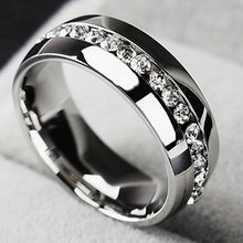 European and American New Jewelry Popular Design Titanium Steel rings Simple Single Row Full Zircon Men and Women fine Ring(China)