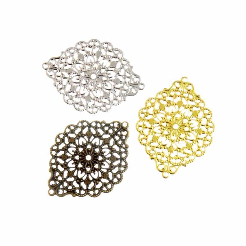 Envío gratis 10 piezas de bronce antiguo/plata/oro Color filigrana envolturas conectores Metal artesanías decoración DIY hallazgos 38 x 52mm