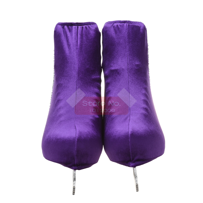 24 Colors Child Adult Velvet Ice Skating Figure Skating Shoes Cover Roller Skate Fabric Accessories White Skater 3 Rhinestone 46