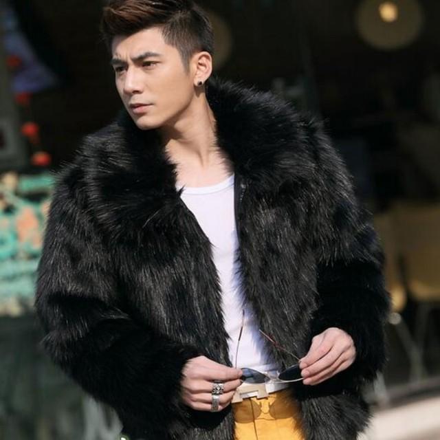 Hombres nuevos de invierno negro de moda de Lujo abrigo de piel de imitación de piel de Zorro Turn-down Collar completo de piel abrigos de piel chaqueta jaqueta Tamaño 3XL