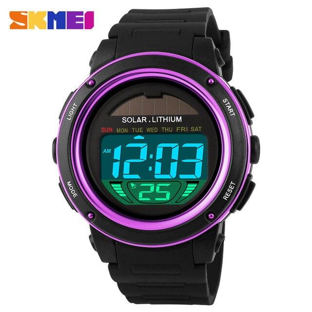 SKMEI солнечные цифровой Для мужчин Для женщин спортивные часы большой циферблат 5atm водонепроницаемые Многофункциональный унисекс наручные часы будильник Подсветка
