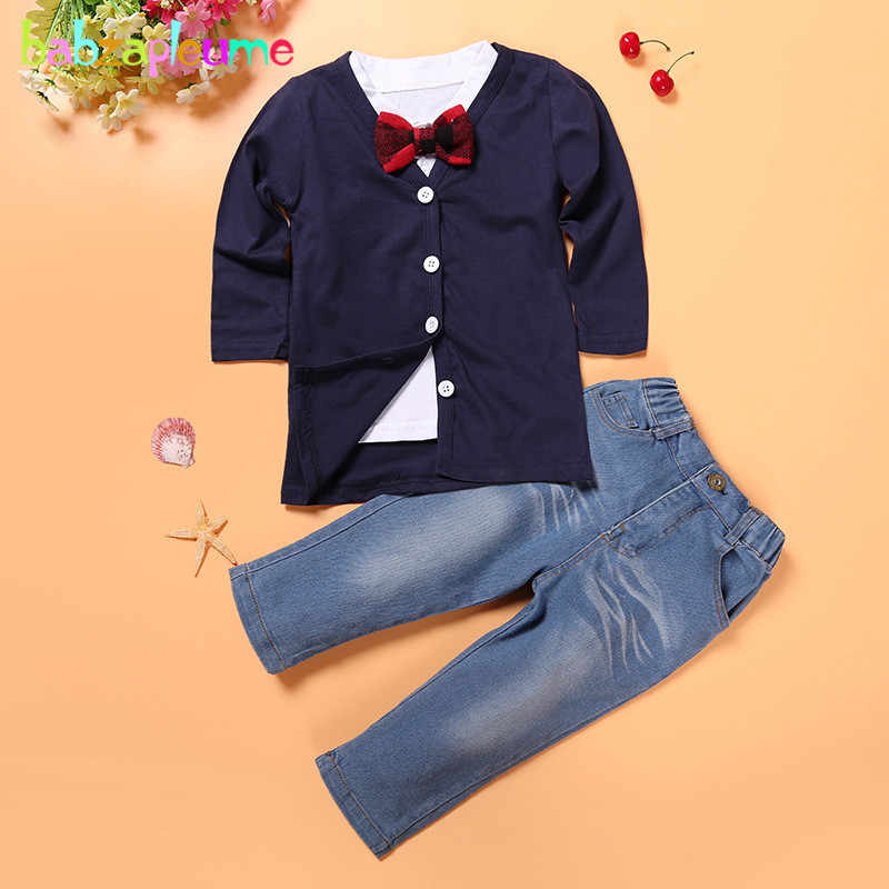 a74ab3ed94f64 3Piece/2-7Years/Spring Autumn Baby Boys Clothes Toddler Casua Suit Knit  Coat Cardigan+T-shirt+Jeans Children Clothing Set BC1161