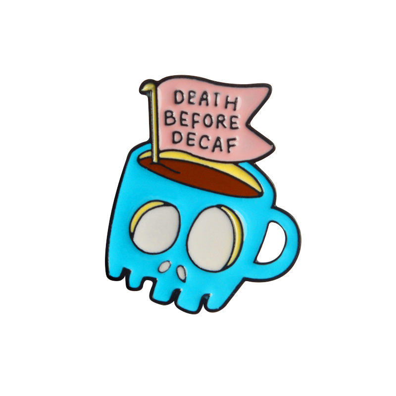 Blue Coffee Skeleton PinsDeath Before Decaf Lapel pins Badges Enamel Brooches denim Punk jewelry Funny Gift for men women image