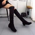 Marca de lujo de Las Mujeres de Moda las Botas de Invierno Otoño Botas Planas Vendimia Zapatos de Gamuza de Alta Pierna Largo Corto Botas Mujer calidad