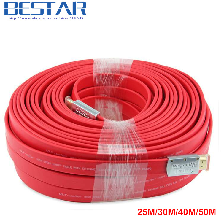 HDMI 2.0 Flat Long Cable Wire Male To Male Engineering Cord 25m 30m 40m 50m 4K*2K Standard Certified 25 30 40 50 meters , By DHL 4k hdmi 2 0 flat cable wire male to male with metal head 1m 1 5m 2m 3m 5m 10m 15m 20m 25m 30m 40m 50m 19 1 standard certified
