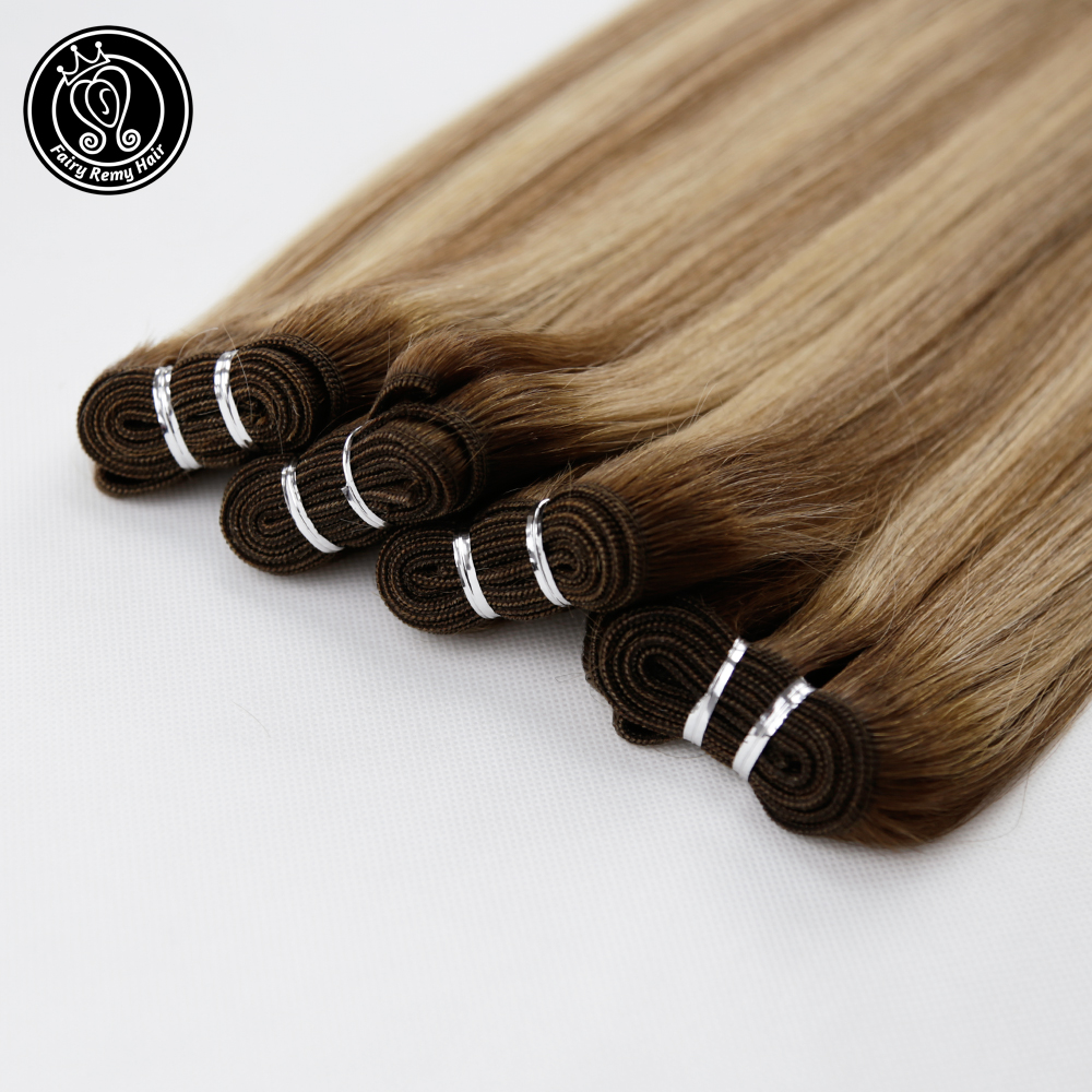 Fairy Remy Hair 100g/pc 16 Inch Remy Straight Human Hair Weft Bundles Balayage Color Double Wefted Hair Extensions Sew In Bundle