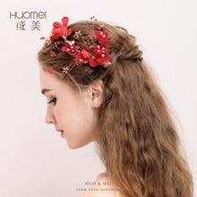 Charm Handmade Wedding Bridal Hair Claws Red Flower Pearls Hairwear for Women Party Headdress Jewelry Bride