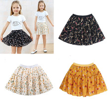 Summer Children Girls Chiffon Ruffle Tutu Skirt Print Floral Pettiskirt Party Dancing Skirts 2-13Y Kids Girl Clothes Costume цена и фото
