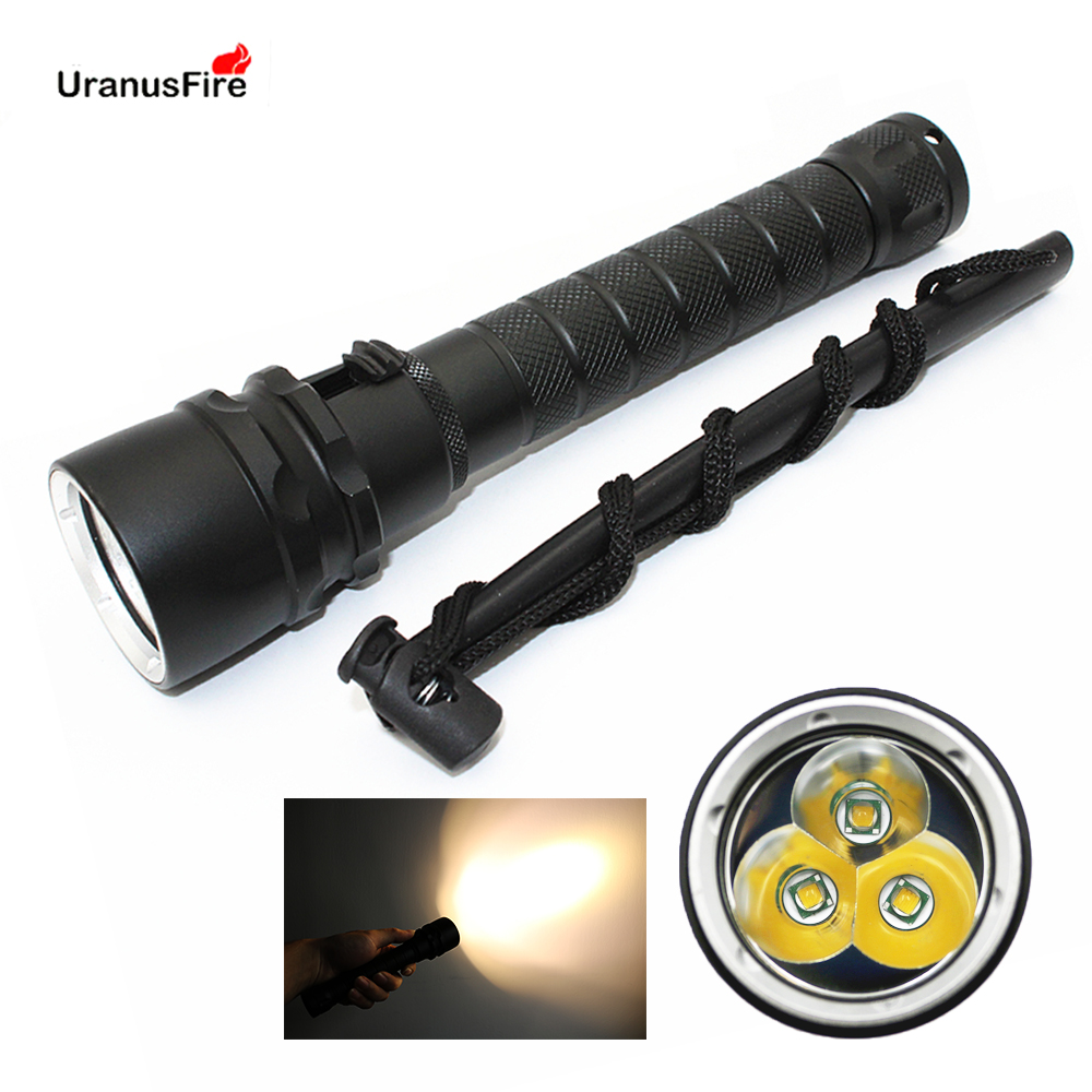 Diving Flashlight 3 * XML-T6 LED 2800LM Yellow Light 30W Stepless Dimming Underwater Waterproof 100M Torch Power By 2x 18650