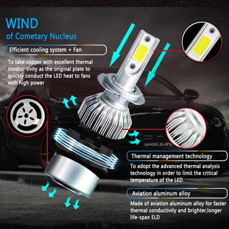 2X H7 Led H4 Автомобильные фары 7600lm Автомобильные светодиодные лампочки H1 H8 H9 H11 Автомобильные фары 6000K светодиодные 12v Противотуманные фары C6 Автомобильные светодиодные