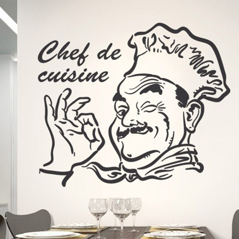 New Chef De Cuisine Removable Decor Sticker Wall Sticker Decal For Kitchen  Room Home Decoration Wall Poster Wall Art