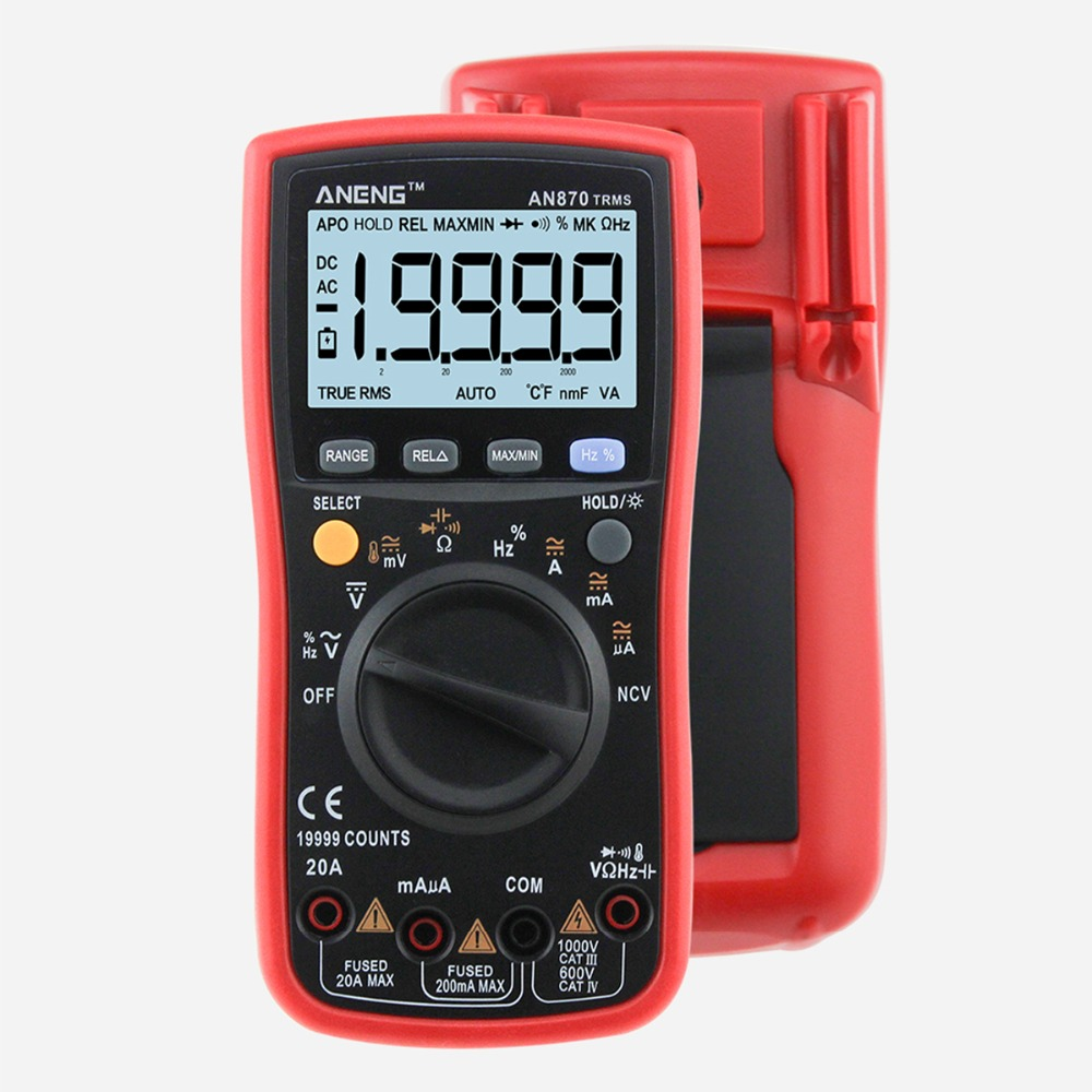 AN870 Auto Range LCD Backlight 19999 Count True-RMS Digital Precision Multimeter Temperature AC/DC Voltage Ammeter Current Meter an870 19999 counts true rms auto range lcd digital multimeter voltage ammeter current meter by 2 1 5v aa battery not included