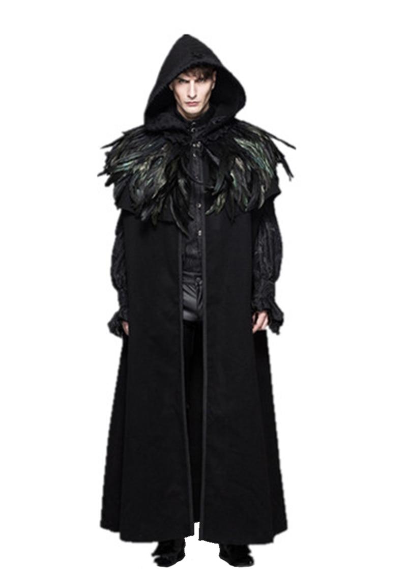 2017 New Gothic Punk Detachabl Mens Wool Cloak Cape Gothic Long Black Hooded Trench Coat Men Windbreaker Overcoat
