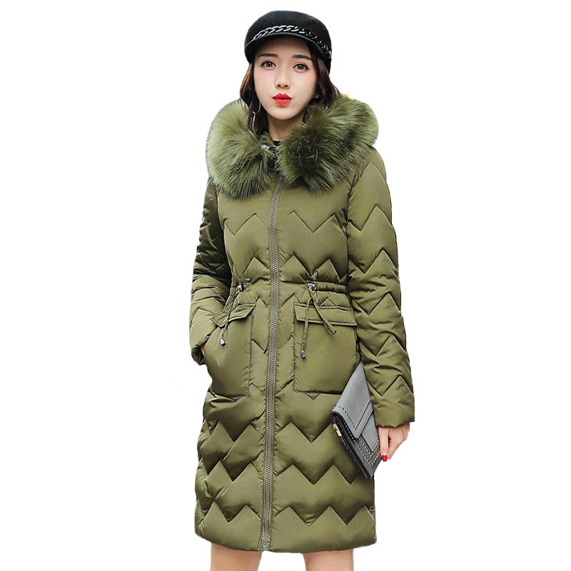 Women Long Down Cotton Coat Parka 2017 Winter Warm Jacket Fur Collar Hooded Cotton Wadded Coats Quilted Jackets Parkas Mujer winter jacket women coats big fur collar down wadded jacket female cotton padded jackets thicken winter coat women parka mujer
