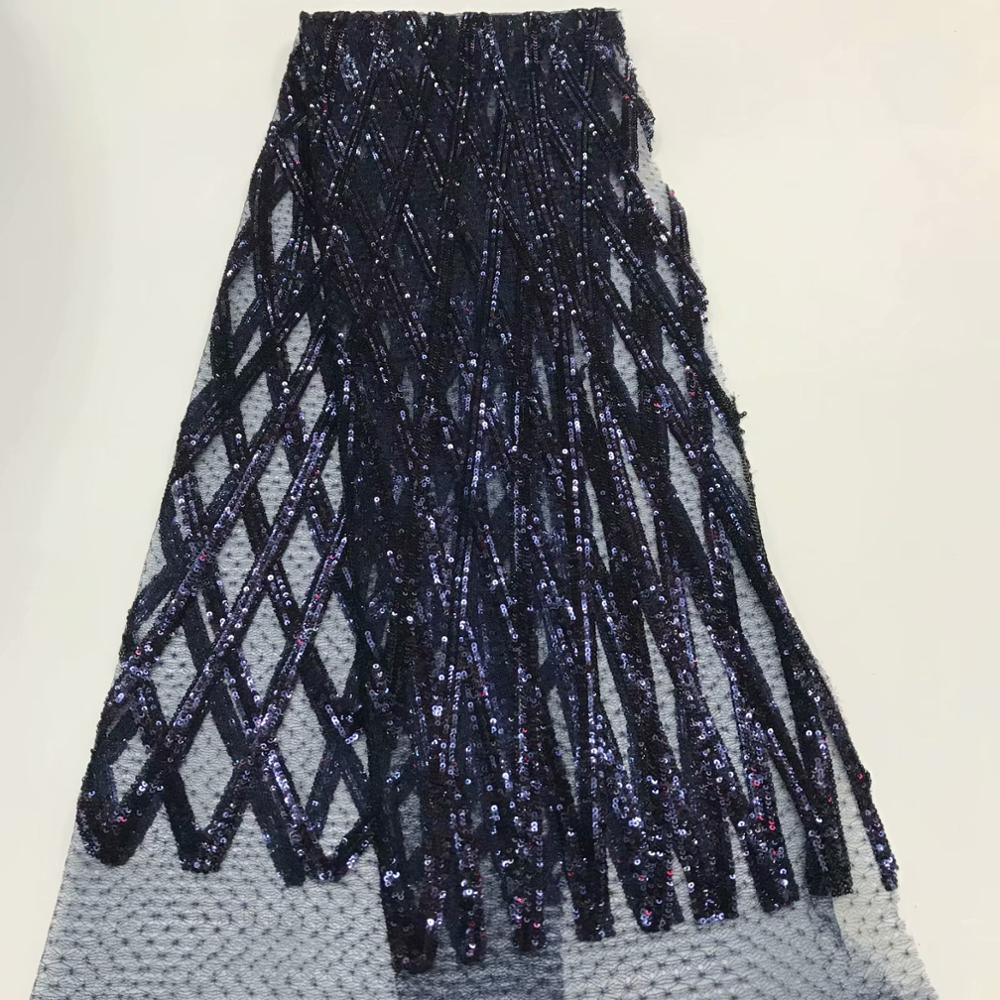 African french net lace fabric sequence 2019 embroidered tulle mesh glitter sequins lace high quality Nigerian lace    RFMAY257