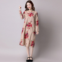 ilstile 2017 Women's Long Sleeve Floral Print Cotton Linen Casual Midi Dress Mori Girls Autumn New Vintage Plus Size Dress M-XXL