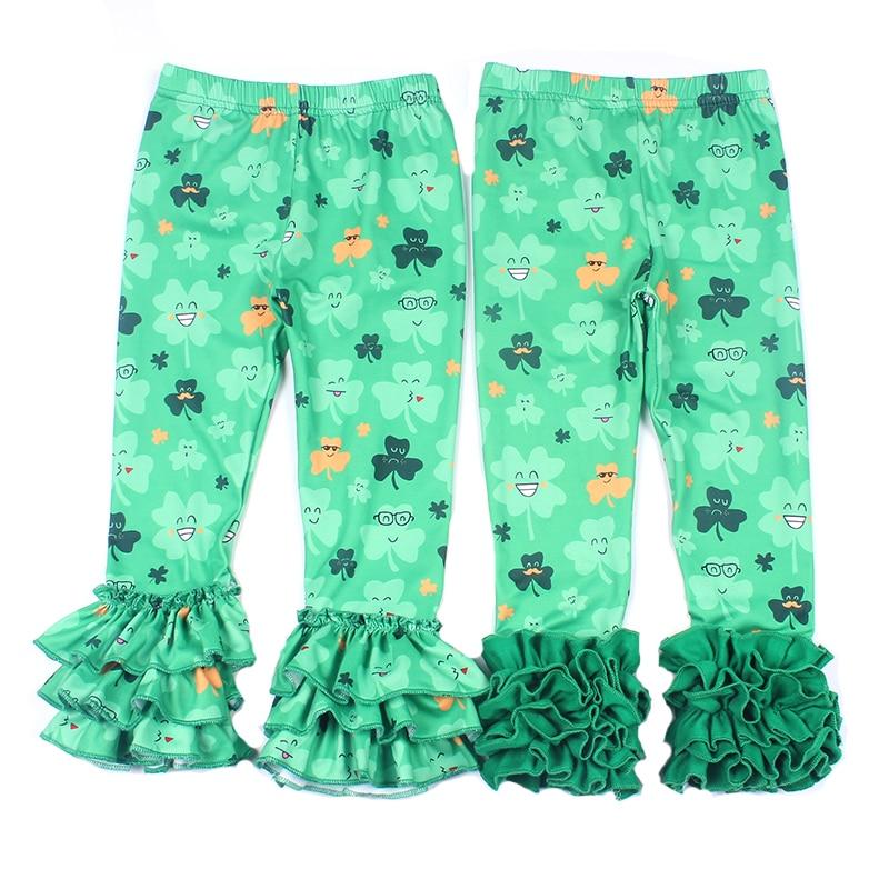 718e978356c St Partick Day Baby Girls Pants Shamrock Pattern Girls Long Ruffle Pants  Kids Green Floral Clothing