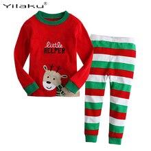 Детский Рождественский пижамный комплект для маленьких мальчиков и девочек, пижамные костюмы с героями мультфильмов осенне-зимняя одежда для сна для девочек пижама enfant