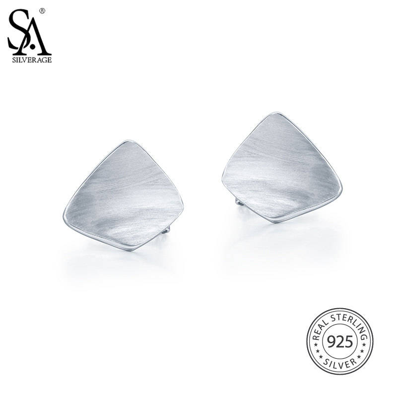 SA SILVERAGE 925 Sterling Silver Earrings Geometric Party Stud Earrings Fine Jewelry for Women Fine Jewelry 8.85g/25mm*20mm sa silverage genuine 925 sterling silver fine jewelry for women stud earrings black 2018 hot sale