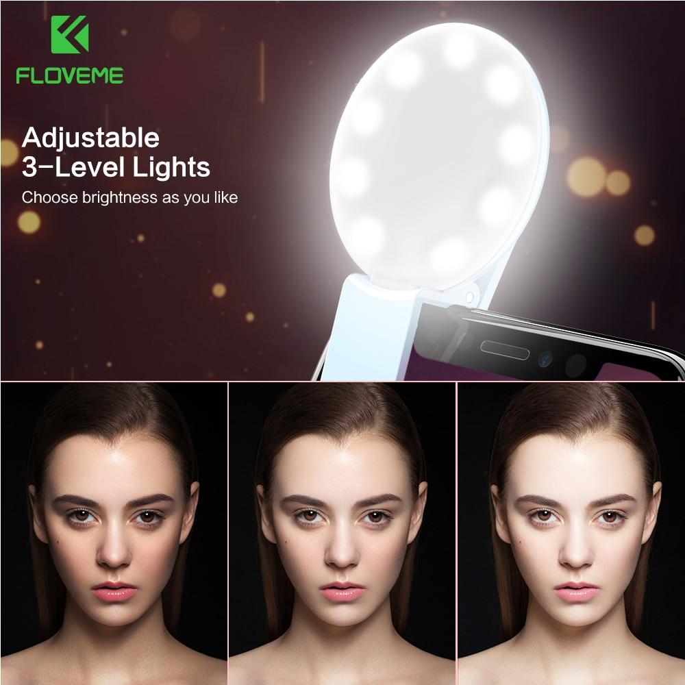 Flvoeme селфи кольцо свет светодиодной вспышкой Портативный Камера LED Ночной Телефон Освещение повышения photoy для iPhone 7 6 6 S плюс смартфонов