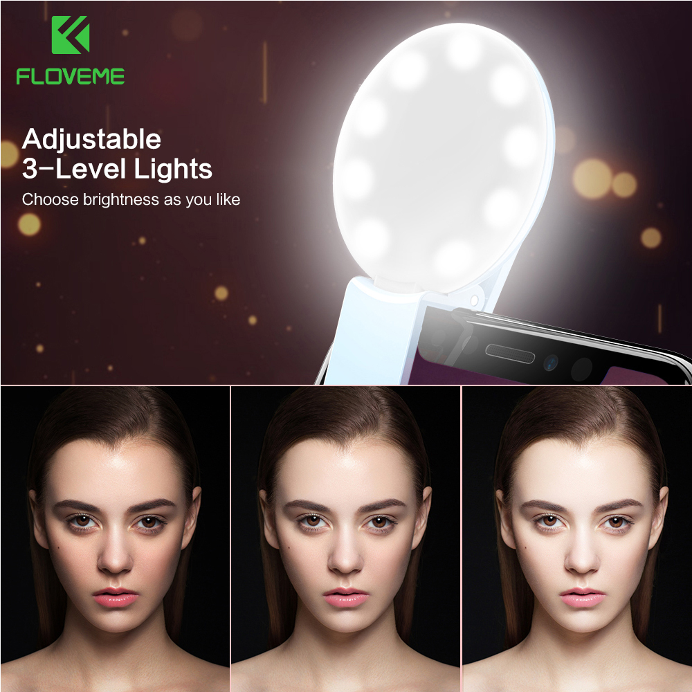 Flvoeme селфи кольцо свет светодиодной вспышкой Портативный Камера <font><b>LED</b></font> Ночной Телефон Освещение повышения photoy для iPhone 7 6 6 S плюс смартфонов