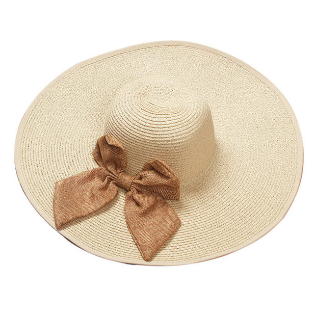 LOVIW Plegable Arco Mujeres Grande Ancho Brim Floppy Summer Beach Sun Sombrero de Paja Casquillo Del Sombrero