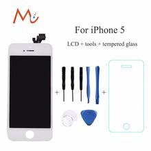100% Brand NEW white black lcd display for iphone 5 5G touch screen Digitizer assembly No Dead Pixel+ tools + tempered screen
