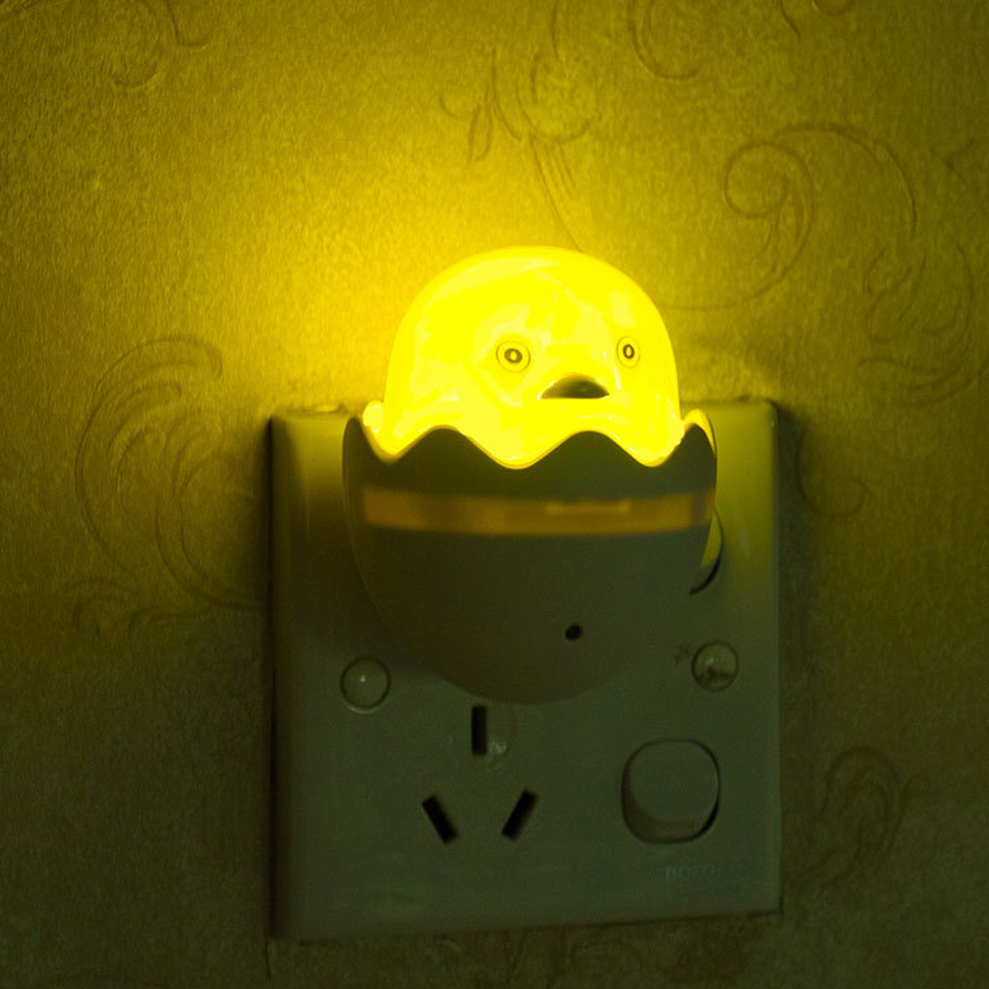 AC 110-220V Duck Light Control Sensor Gift For Children Cute LED Night Light Wall Socket Lamps Bedroom Lamp Yellow US Plug