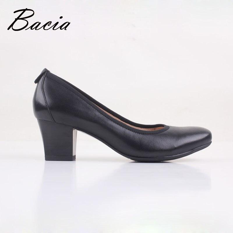 2 Madre Suave Cuero Fow Vd017 Negro Tacón Mujer Zapatos De Ol 5 Cuadrados Cm Bacia Bombas Tacones Alto Moda Antigua R8x7Fw