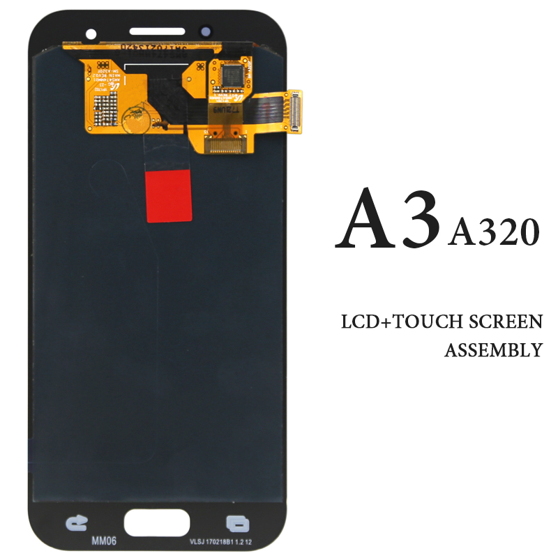 AMOLED Black White Gold Pink Touch Screen For Samsung Galaxy A3 2017 A320 A320F LCD Display