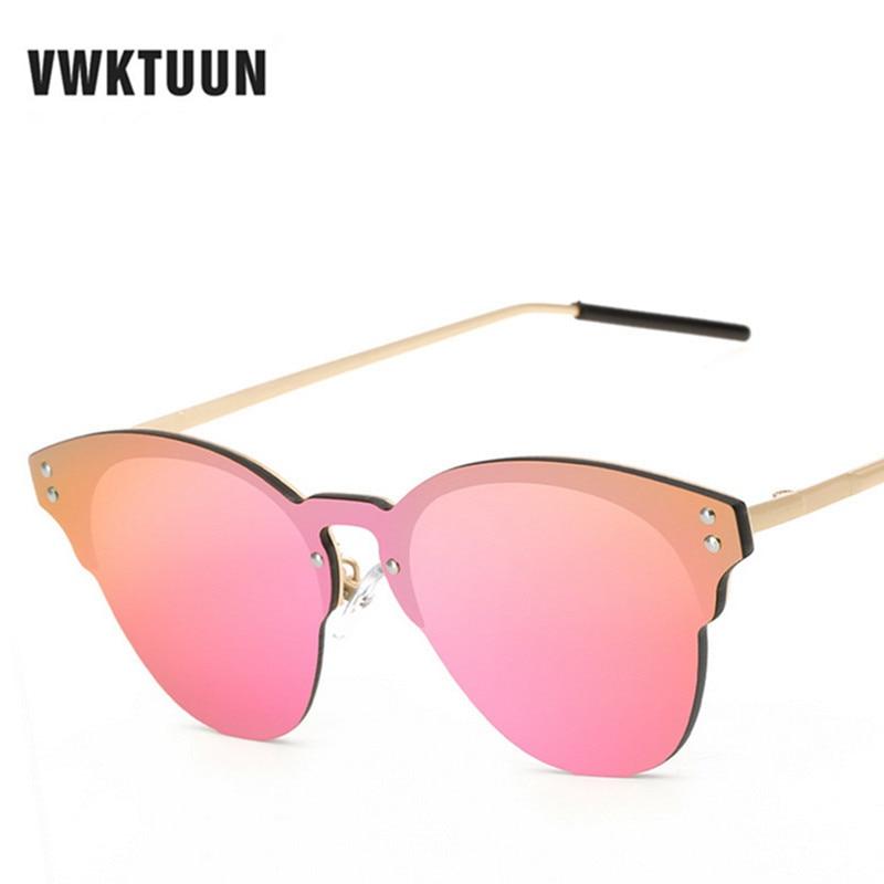 90806f4f1343 VWKTUUN Cat Eye Metal Sunglasses Women Luxury Oversized Sun Glasses Female  Eyewear Retro Oculos Alloy Frame Mirror Shades