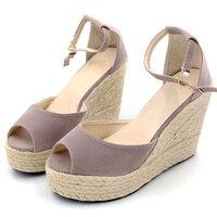 11cm High Heels Handmade Weave Sandals 2017 Women Summer Fisherman Shoes Women Open Toe Platform Wedges