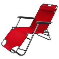 2 x Folding Reclining Garden Chair Outdoor Sun Lounger Deck Camping Beach Lounge