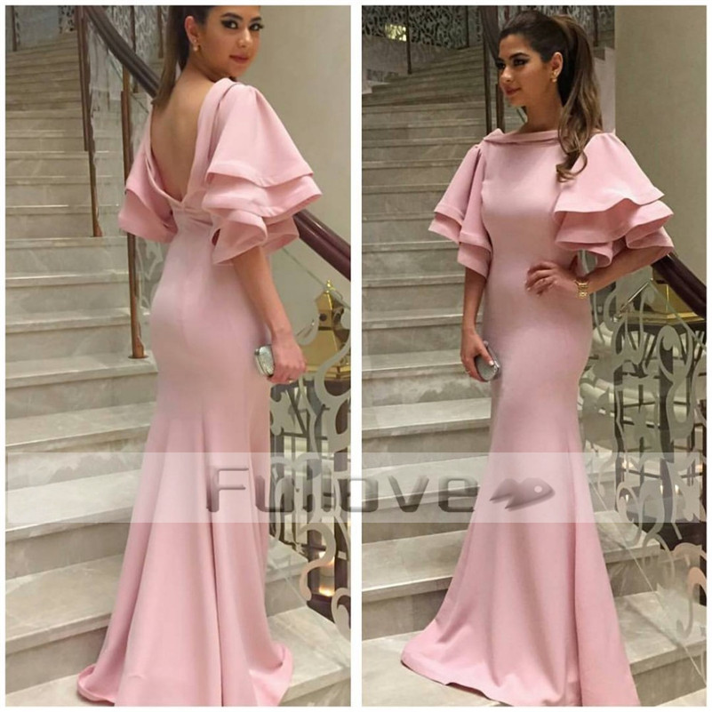 Noble Graceful Pink   Prom     Dress   Long 2019 Slim Cut Backless Mermaid Formal   Prom     Dresses   Gowns Vestidos De Fiesta Abendkleider