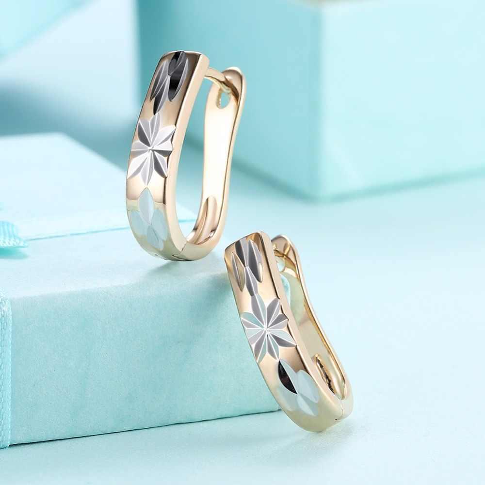Boucles d'oreilles femmes de luxe élégant Champagne or cuivre argent couleur fleur boucles d'oreilles pour dame fille amour cadeau bijoux de fête