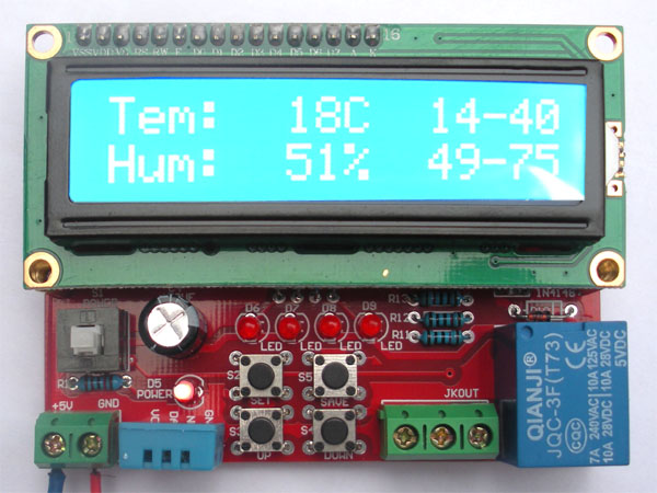 Temperature and humidity controller suite temperature and humidity display MCU 1602 LCD display DIY mfr012 humidity controller grey blue