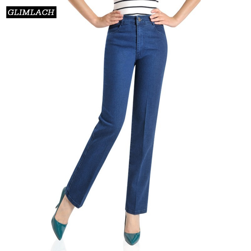 Classic Moms   Jeans   For Women Straight High Waist Denim Pants Ladies Loose Stretch   Jeans   Blue Plus Size Boyfriend   Jeans   Trousers