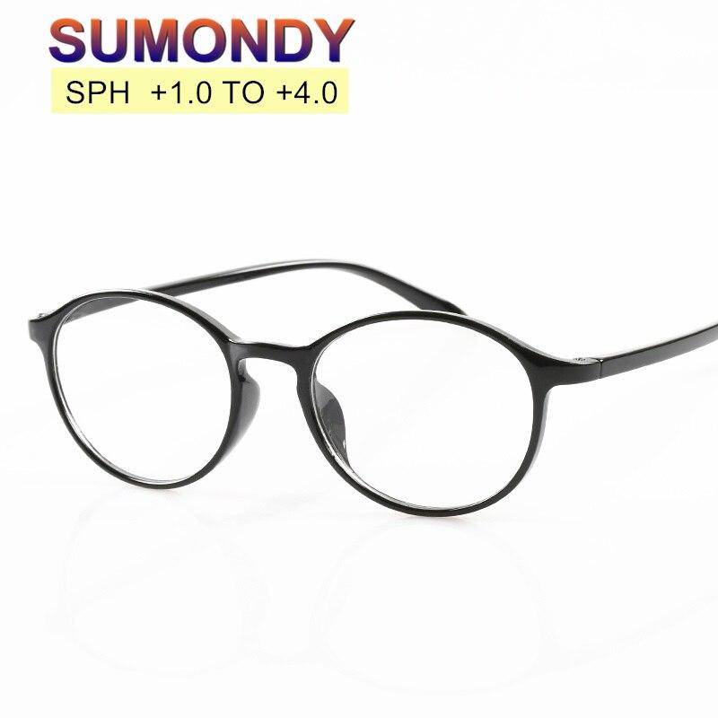 SUMONDY Unbreakable TR90 Toughness Reading Glasses Men Women Hot Selling Anti-fatigue Round Frame Presbyopic Eyeglasses R120