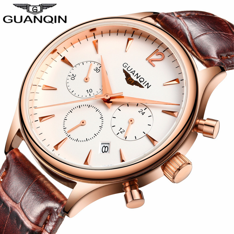 GUANQIN Relogio Masculino  Mens Watches Top Brand Luxury  Wristwatch Sport Leather Strap Quartz Watch Montre Homme